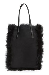Pedro Garcia 'North South' Genuine Lambskin Shearling Tote Black