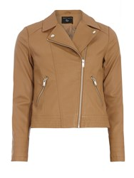 Dorothy Perkins Faux Leather Biker Jacket Brown