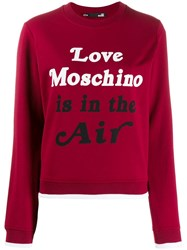 Love Moschino Slogan Print Sweatshirt Red