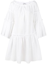 Msgm Seersucker Long Sleeve Dress Women Cotton Polyester 42 White