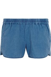 Madewell Linen And Cotton Blend Chambray Shorts Mid Denim