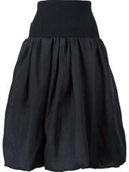 Oscar De La Renta High Waisted Full Skirt Black
