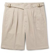 Rubinacci Manny Pleated Stretch Cotton Twill Shorts Sand