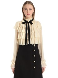 Gucci Ruffled Silk Georgette Shirt With Bow