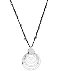 Robert Lee Morris Soho Silver Tone Black Cord And Hammered Ring Pendant Necklace