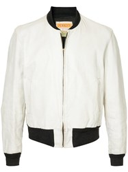 Fake Alpha Vintage 1950S Leather Bomber Jacket White