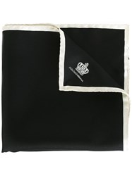 Dolce And Gabbana Crown Print Pocket Square Black