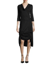 Xcvi Ruby Drawstring Hem 3 4 Sleeve Midi Dress Black