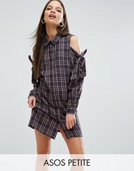 Asos Petite Cold Shoulder Check Shirt Dress With Bow Detail Multi