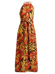 Raey Split Skirt Floral Chintz Halterneck Dress Orange Multi