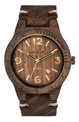 Wewood Men's Alpha Wood Leather Strap Watch 46Mm Brown Tan