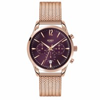 Henry London 39Mm Unisex Hampstead Chronograph Watch With Stainless Steel Mesh Bracelet Rose Gold Pink Purple