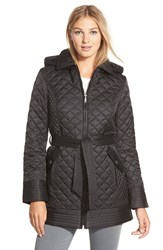 Women's Laundry By Design Belted Hooded Quilted Coat Black