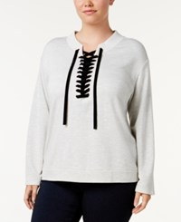 Inc International Concepts Plus Size Lace Up Sweatshirt Created For Macy's Heather Grey