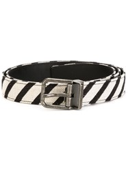 Dolce And Gabbana Striped Belt White