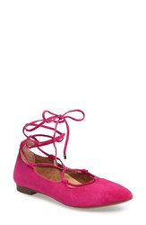 Vionic Women's Lucinda Ghillie Lace Flat Pink Leather