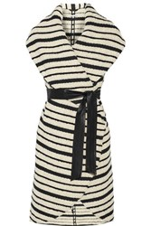 Alice Olivia Keira Striped Cotton Blend Boucle Vest Off White