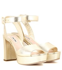 Miu Miu Metallic Leather Platform Sandals Gold