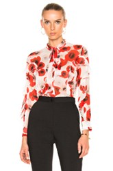 Nicholas Poppy Floral Ruffle Top In Floral Red White Floral Red White