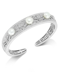 Macy's Diamond 1 4 Ct. T.W. And Cultured Freshwater Pearl 7Mm Cuff Bracelet In Sterling Silver