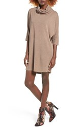 Everly Women's Dolman Turtleneck Sweater Dress Taupe