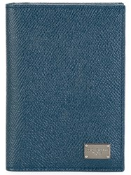 Dolce And Gabbana Dauphine Leather Cardholder Blue