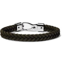Tod's Woven Leather And Silver Tone Bracelet Army Green