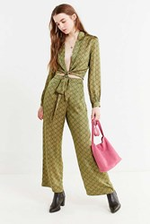 Urban Outfitters Uo Satin Paisley Wide Leg Pant Green Multi