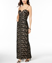 Betsy And Adam Crocheted Lace Gown Black Nude
