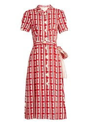 Miu Miu Large Polka Dot Print Crepe Shirtdress Red White