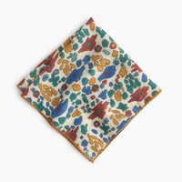 J.Crew Drake's Italian Wool Silk Pocket Square In Block Print Gold Blue Rust