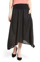 Women's Eileen Fisher Organic Linen Asymmetrical Hem Midi Skirt Black