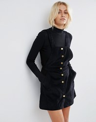 Goldie Street Smart Corduroy Pinafore Dress Black