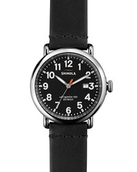 41Mm Runwell Leather Watch Black Shinola