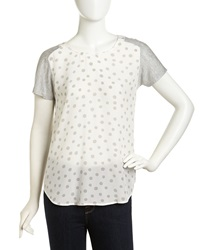 Rebecca Taylor Short Sleeve Crepe Jersey Contrast Tee Cream Gray
