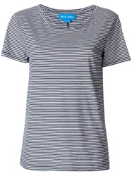 Mih Jeans Scoop Neck Striped T Shirt Women Cotton Xs Blue