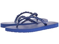 Tory Burch Jeweled Flip Flop 12H Royal Navy Women's Slide Shoes