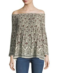 Max Studio Off The Shoulder Crepe Top Multi Pattern
