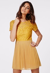 Missguided Pleated Skirt Lace Skater Dress Mustard