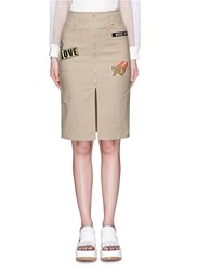 Mo And Co. Badge Applique Cotton Worker Skirt Brown