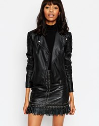 Asos Ultimate Biker Jacket With Piped Detail Black