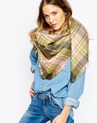 Esprit Oversized Check Scarf Khakigreen