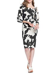 Tracy Reese Stretch Crepe Ruched Knee Length Dress Black
