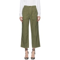 R 13 R13 Green Straight Utility Trousers