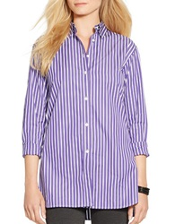 Lauren Ralph Lauren Striped Button Front Tunic Purple