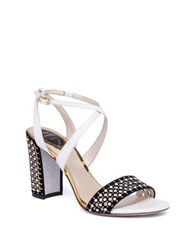 Rene Caovilla Pearl Studded Suede And Leather Block Heel Sandals White Black Gold