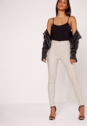 Missguided High Waisted Coated Skinny Jeans Nude Cream