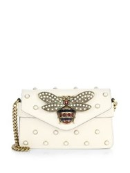 Gucci Broadway Bee Studded Leather Chain Clutch White
