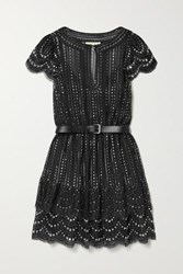 Michael Michael Kors Belted Crystal Embellished Metallic Lace Mini Dress Black
