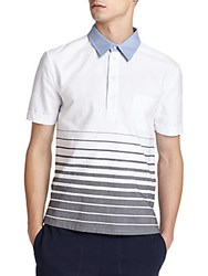 Band Of Outsiders Engineered Striped Cotton Polo Shirt Black White